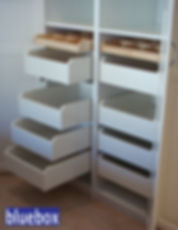 Closet cabinets and shelves.