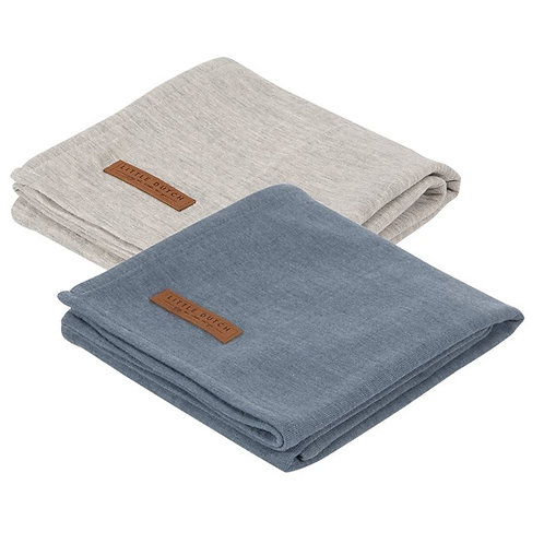 Swaddle Doek 70 x 70 - Pure Blue / Pure Grey (set van 2) - Little D