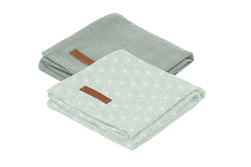 Swaddle Doek 70 x 70 - Lily Leaves Mint / Pure Mint (set van 2) - Little D
