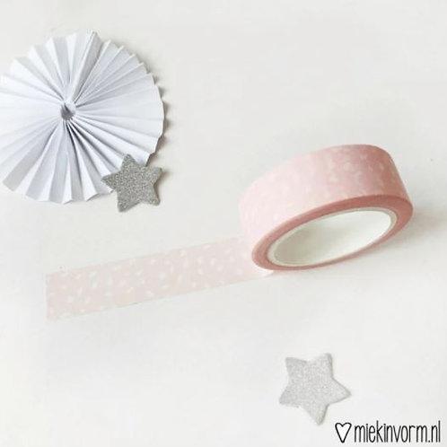 Washi tape - Lichtroze met witte vlekjes