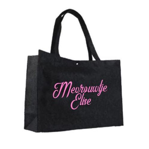 Vilten tas groot - Mevrouwtje (roze)