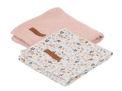 Swaddle Doek 70 x 70 - Pure Pink/Spring Flowers (set van 2) - Little Dutch