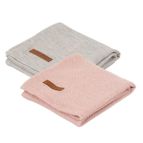 Swaddle Doek 70 x 70 - Pure Pink/Grey (set van 2) - Little D