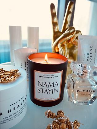 NJ Living Namastayin Natural Wax Candle - Sandalwood & Amber