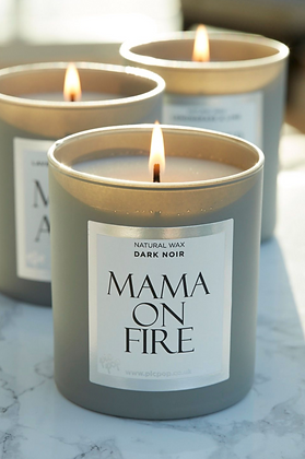 NJ Living Mama On Fire Natural Wax Candle in Dark Noir
