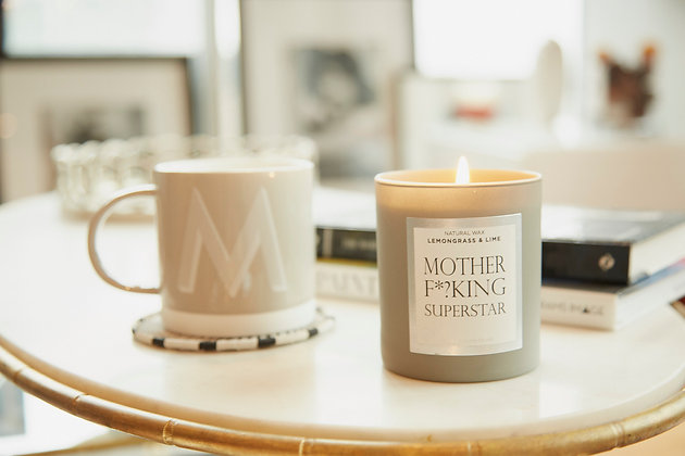 NJ Living Mother F*?king Superstar Natural Wax Candle in Lemongrass and