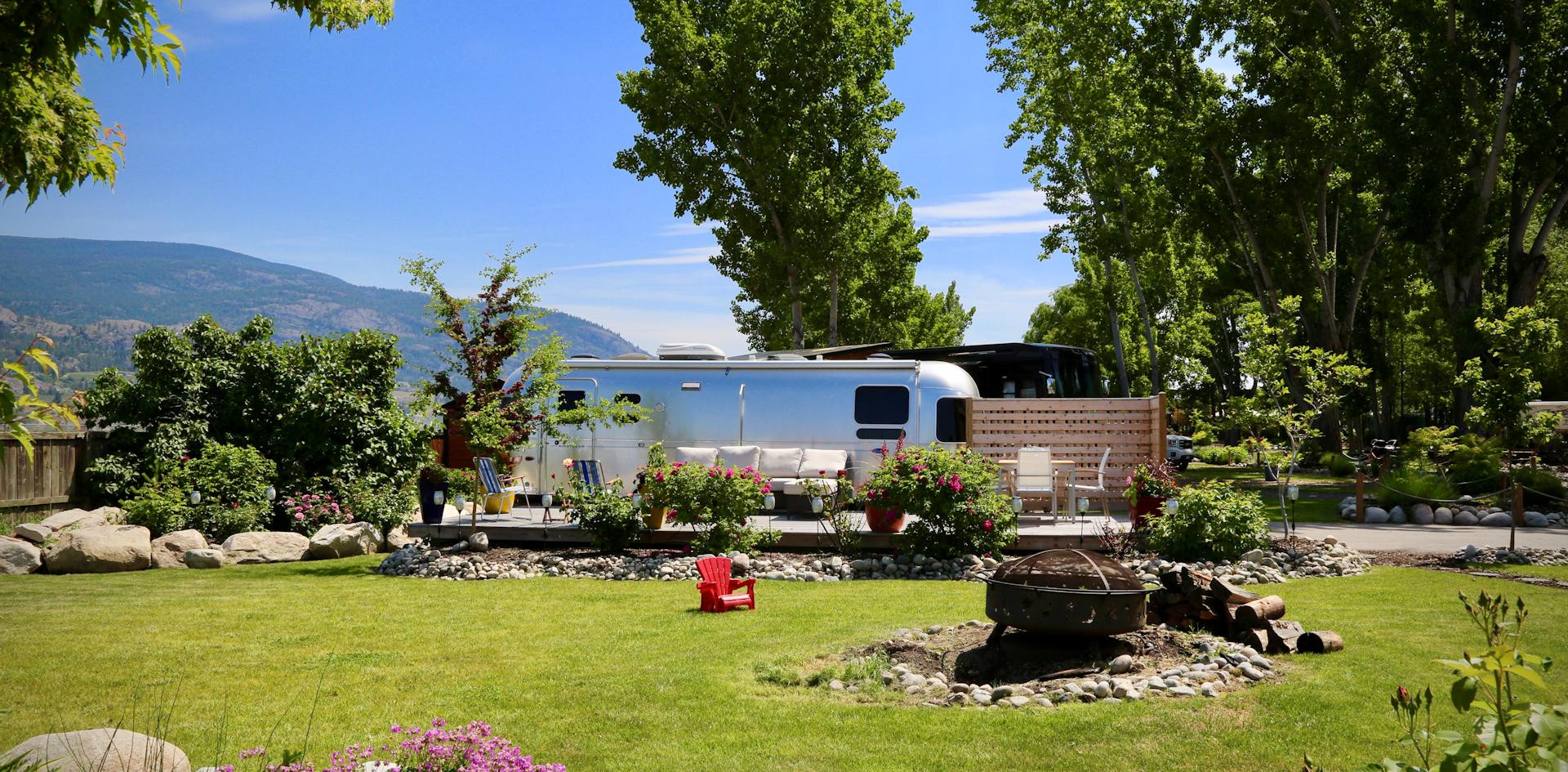 RV site, deck, gardens
