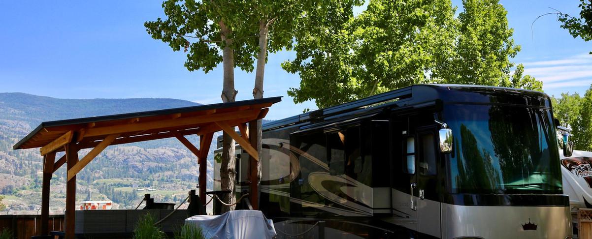 RV site, deck, gardens