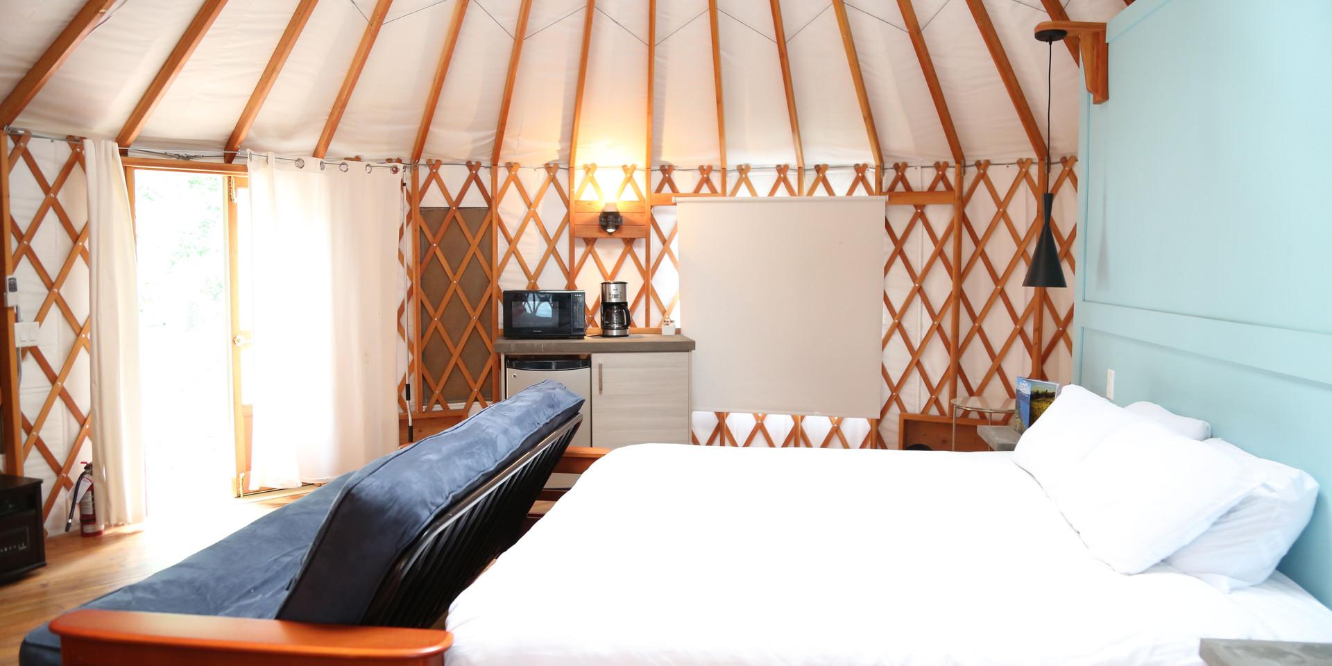 Yurt camping interior, hotel room