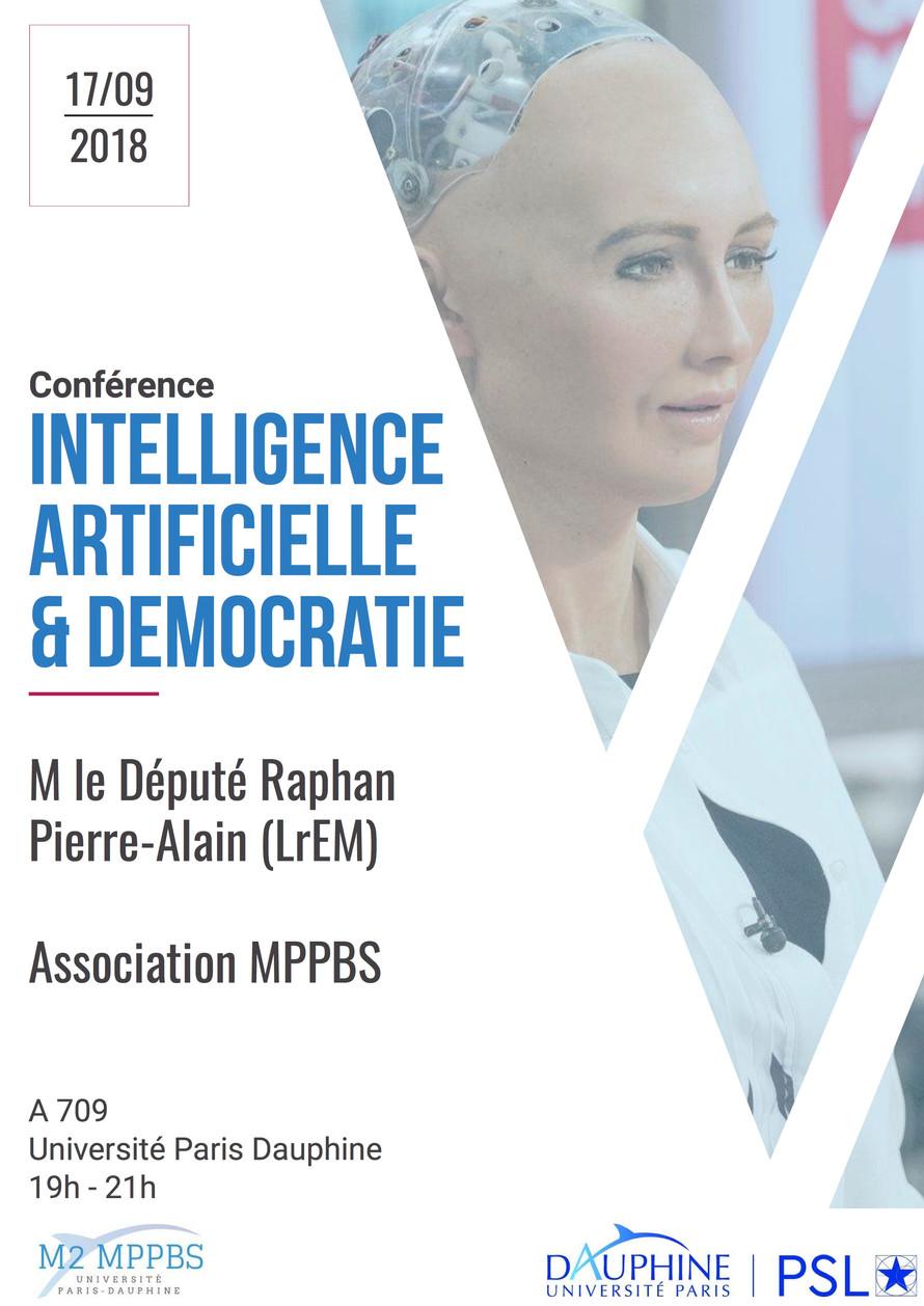 Conférence Intelligence Artificielle & Démocratie le 17 septembre 2018 de 19h à 21h à l'Univ