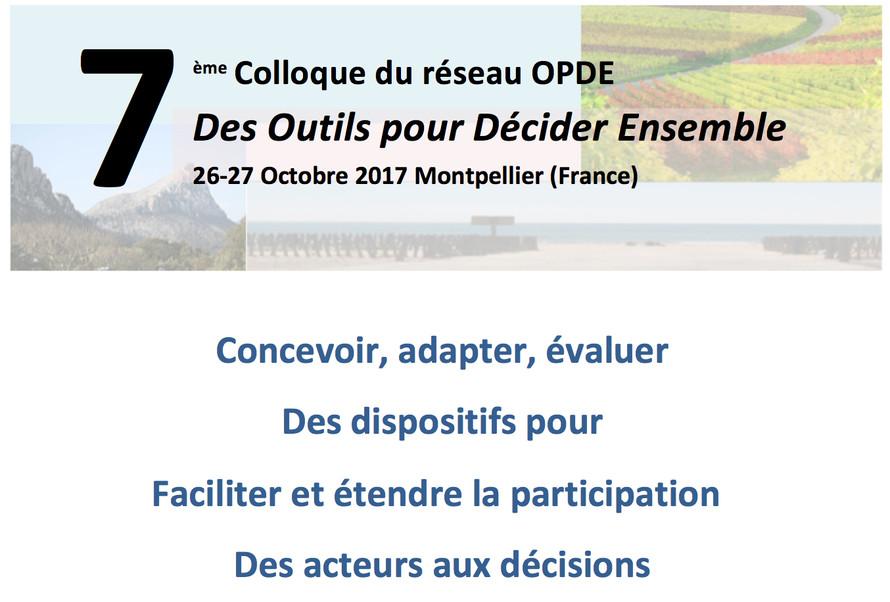 """Les """"Outils Pour Décider Ensemble"""" (OPDE) conférence 2017 les 26 et 27 Octobre 2017 à Mont"""