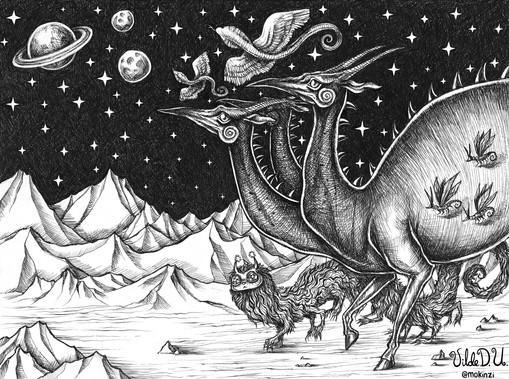 'Cosmic Parade' by Vilde Dyrnes Ulriksen | Mokinzi Art