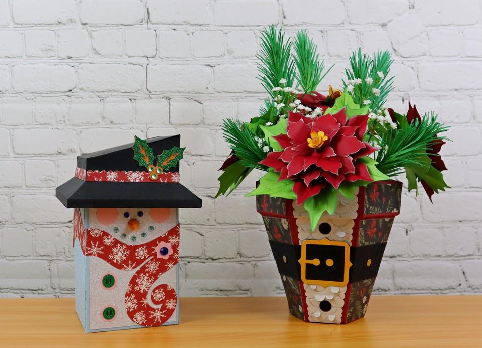 Poinsetta Planter & Snowman Gift Box