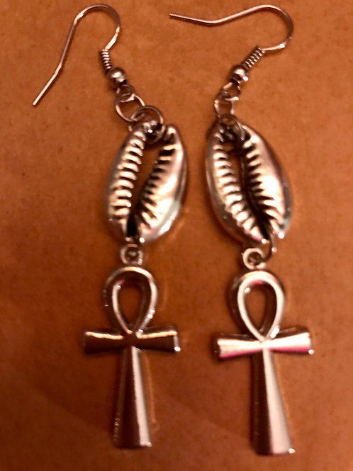 Silver Cowrie Shell/Ankh
