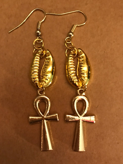 Gold Ankh and Cowrie Shell