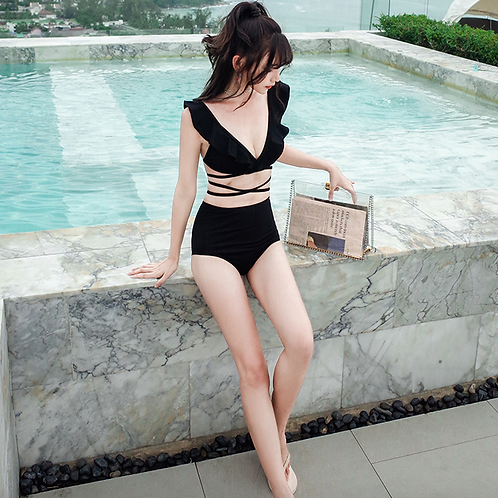 RSN190211 Flounce V top with high waist bikini