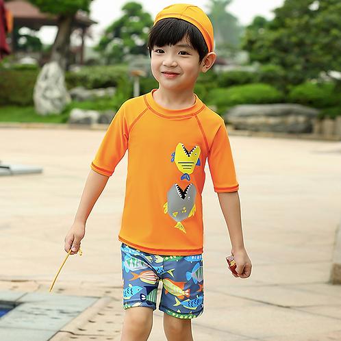 SKN9304 Orange Ocean Kids Swimwear