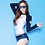 Thumbnail: SN17905 蓝白长袖叶子图案裤