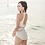Thumbnail: SN189011竖条腰间网纱露背三角连体泳装