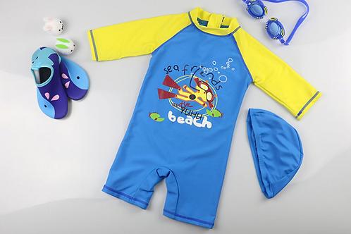KYM9701 Sea Friends One Piece + Hat Kids Swimwear