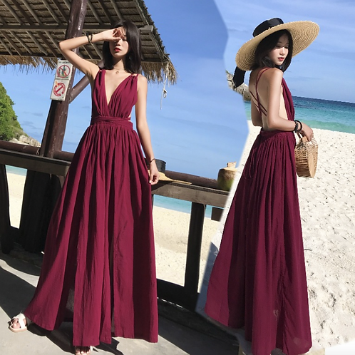 DQ1995 Maroon Halter Back Beach dress