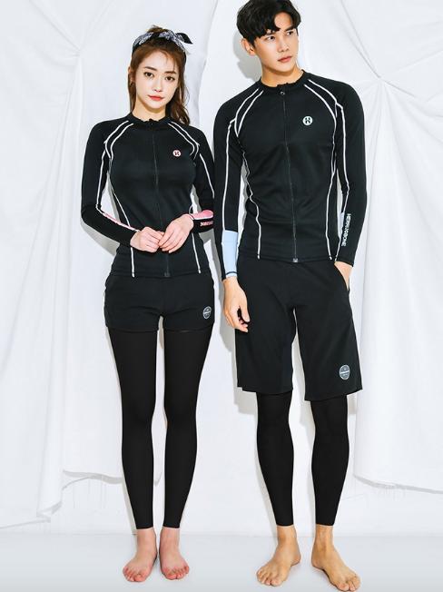 CSN2074 Cool Black Zip Couple Rash Guard