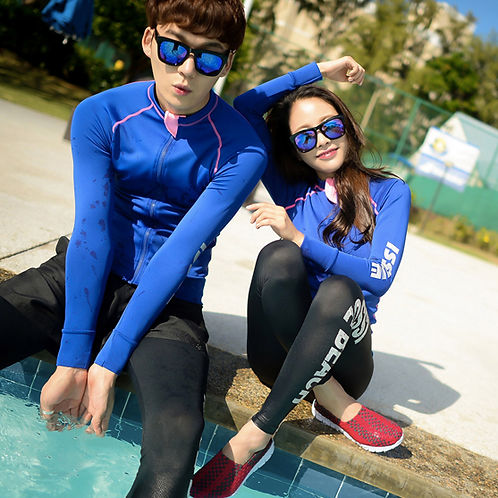 CSN18319 Blue Black Couple Rash Guard