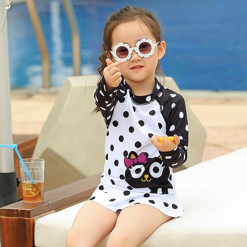 SKN9412 Kitten Polka Dot Kids Swimwear