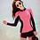 Thumbnail: SNN19443 Rose Pink With Black Zip Rash guard 3pcs set