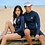 Thumbnail: SN19221 Navy Blue Leaf Zip Couple Rash guard