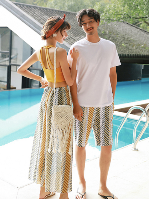 CXSN1902 Yellow Zig Zag lining Couple set Swimwear