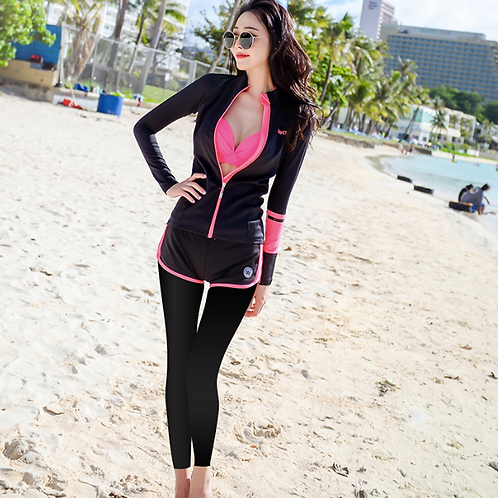 RSN17029 Pink Bikini w Black Rash Guard 5pcs set