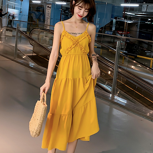 DQ1884 Yellow Chic Tie Back Dress