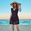 Thumbnail: RSPN1965 Lace Dress Deep V Monokini