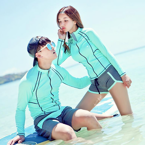 RSN170025 ONLY WOMEN Green Grey Rash guard set