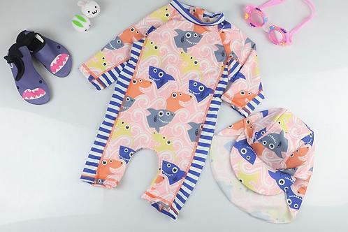 KYM9866 Color Sharks One Piece Kidswear