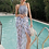 Thumbnail: SVV9008 Grey Crop Top Fern Leaf Print 3pcs set Bikini