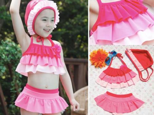 RKHS1415 蛋糕层裙式比基尼+小帽子