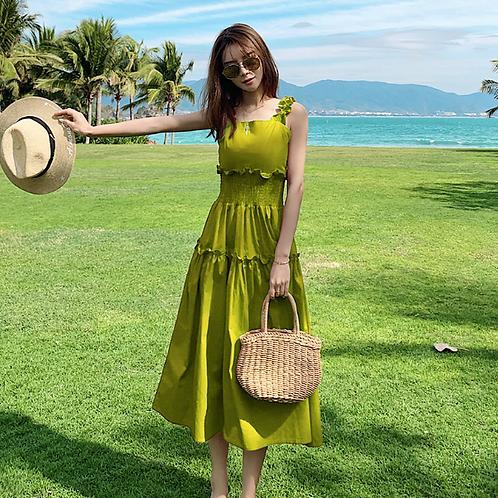 DQ1760 Rubber Waist Beach Dress