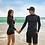 Thumbnail: CNN9911 Black Green Leaf Zip Couple Rash guard
