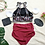 Thumbnail: RSNN19368 Retro Crop top Maroon High Waist Bikini