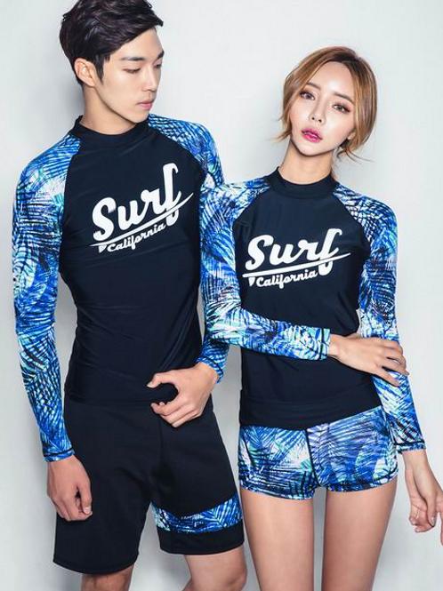 CSN17991蓝色SURF情侣长袖泳装