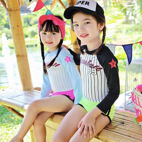 KYS6138 Baseball字母女童长袖泳装