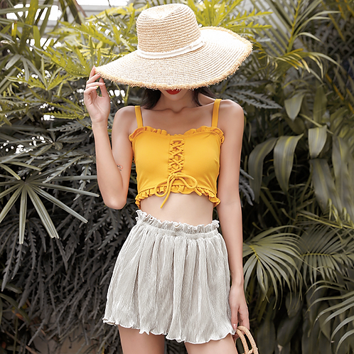 SMQ1991 Yellow Singlet Top High waist Bikini w Pant 3pcs set