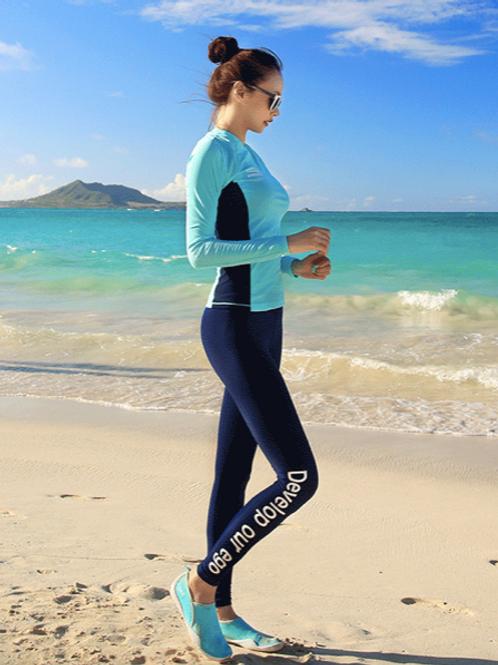 RSN7209 蓝绿白长袖长裤泳装(女款)