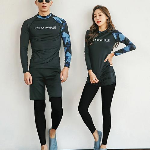 CNN1915酷黑拼蓝情侣长袖泳衣套装