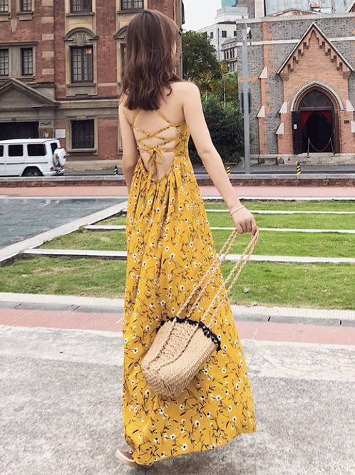 RDQ18006  Yellow Flora String Back Beach Dress