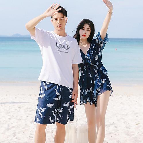 CSI73703 Crane Navy Chiffon Couple bikini Set