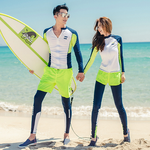 CSLM18021 荧光白蓝情侣多件套装长袖长裤泳衣