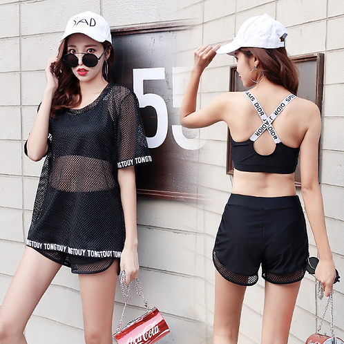 RSN89011黑网外衫运动型平角3件套泳衣